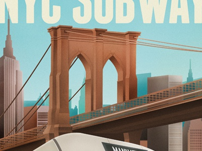 Vintage New York Travel Poster travel new york subway nyc brooklyn bridge empire state building