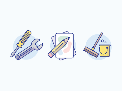 Employment Icons writing art building cleaning bucket screwdriver wrench pencil broom icon employment jobs