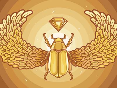 Scarab Final gold egyptian diamond jewel wings beetle scarab dung beetle heavenly cycle monochromatic shiny