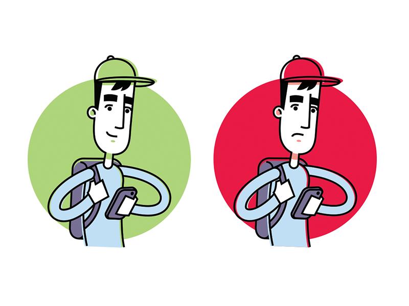 Content Blocking Illustration illustration guy hat phone block