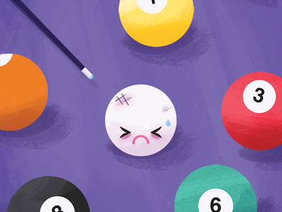 Pool Violence  cartoon black eye pool cue bruised pool