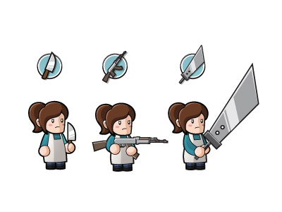 Sprites sprites video game cute emma buster sword rifle knife