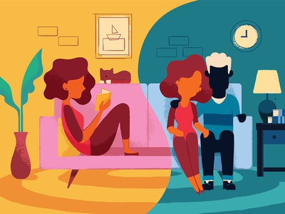 Living Apart, Together. couch couple dating half dating illustration
