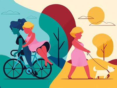 Walk in the Park women bike illustration people walking walk dog