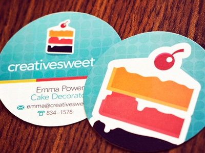 Creative sweet business cards by andrew power dribbble my creative sweet business cards arrived yesterday theyre diecut into a 2x2 circle and the background pattern is actually a spot varnish which changes colourmoves