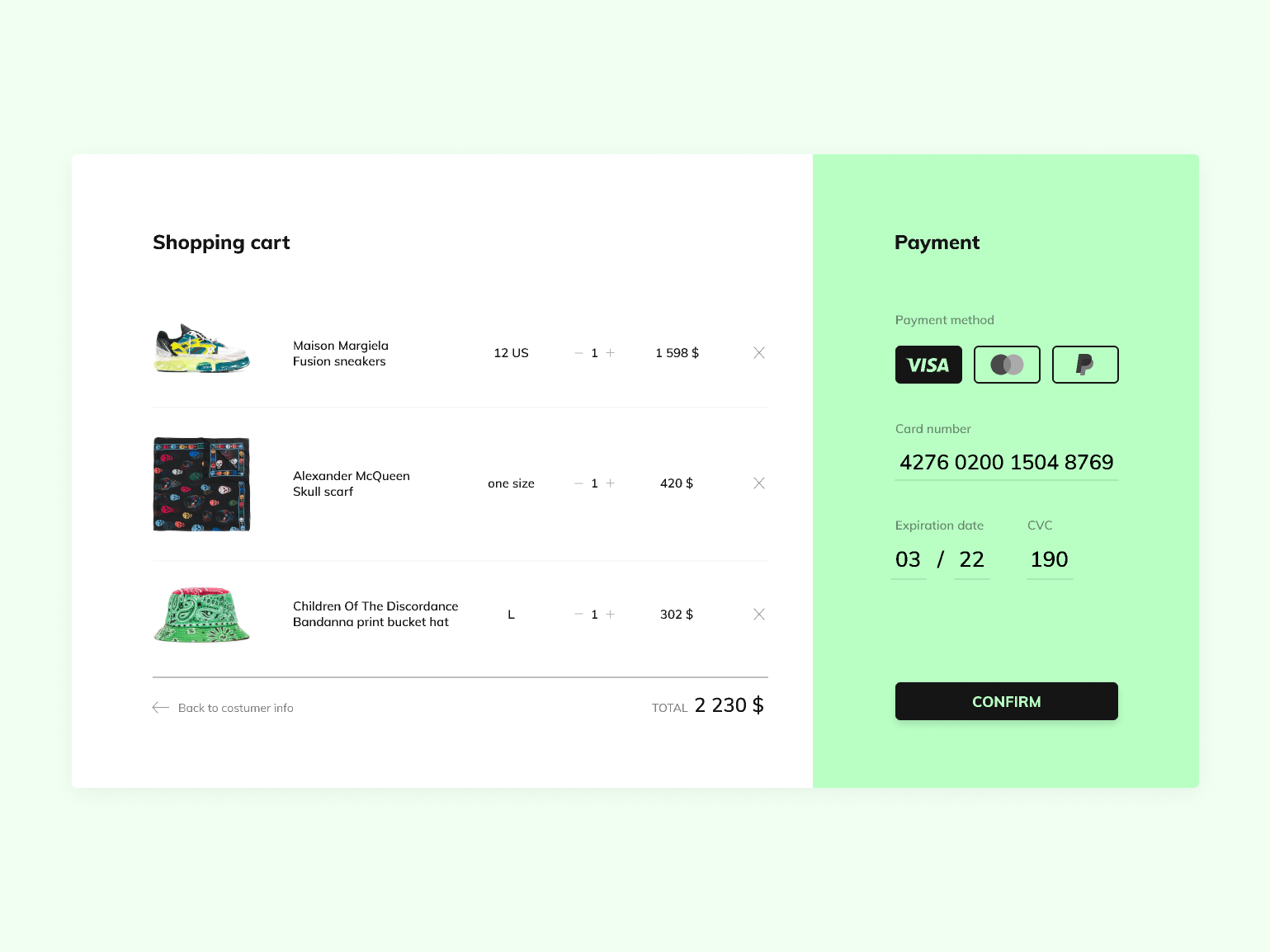 Credit Card Checkout | Daily UI #002 design payment shoping shoping cart daily ui wear color green checkout credit card desktop