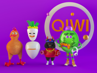 Qiwi universe charsctersdesign characters fintech branding ui illustration design