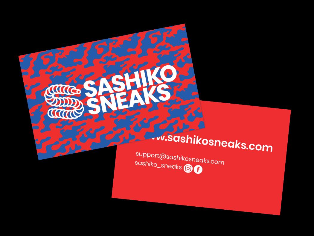 Sashiko Sneaks Business Card branding sneakers illustrator reseller instagram hypebeast sneakerhead logo business cards design business cards