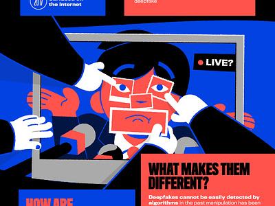Deep Fakes infographic infographic illustrator trust cartoon vector illustration blue fake fake news deepfake