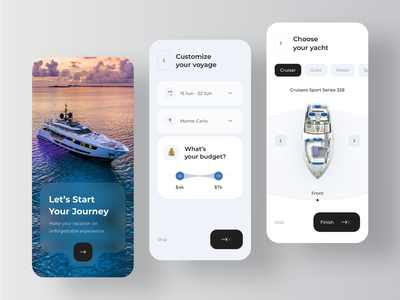 Yacht Searching Service Application - Onboarding button yacht ui onboarding mobile minimal design blur