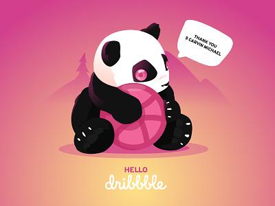 Hello Dribbble ! dribbble animal hello illustration pink panda