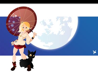 Full moon art vector art woman cat umbrella girl fullmoon moon illustration drawing