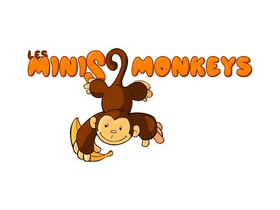 Les minis monkeys brand identity nursery logo illustration drawing art branding brand