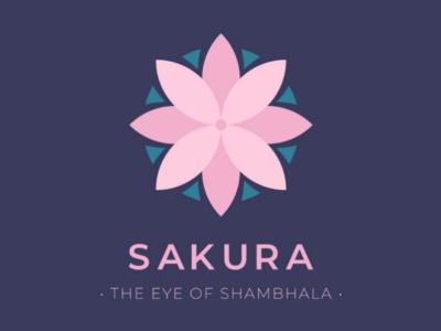 The eye of Shambhala flower sakura logo