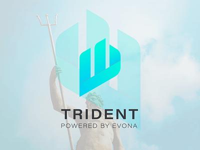 Trident app logo vector illustrator graphic design gradient blue typography branding logo exploration logo trident