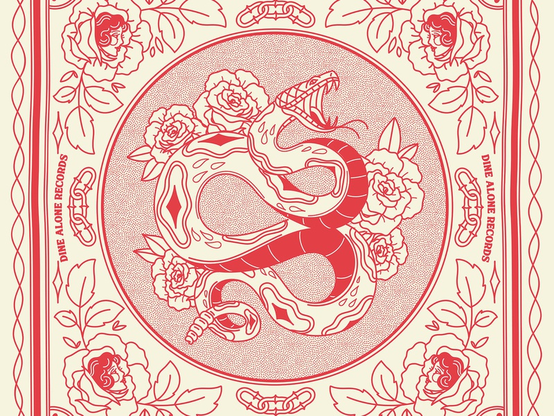 Snake Bandana Design vector onecolour chain ladyhead merch bandana rose snake vintage antiques tattoo illustration