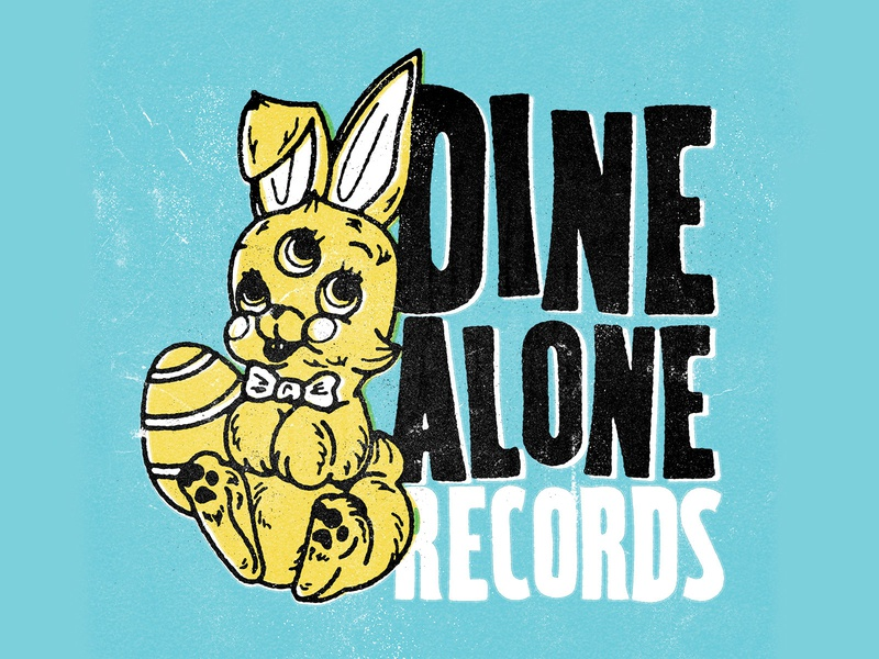 Dine Alone Records Custom Easter Logo distressedunrest retro antiques recordlabel easter bunny design branding logo vintage tattoo customtype typography texture