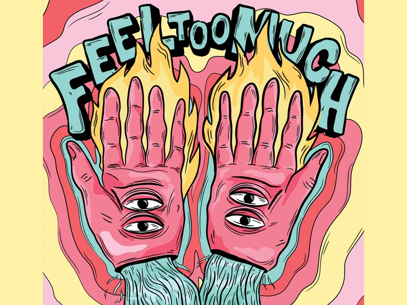 Feel To Much Pride Illustration lgbt queer pride2020 colour palette firehands fire eyes hands vector tattoo illustration customtype feeltoomuch