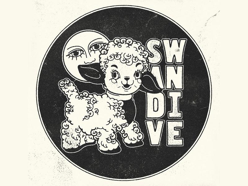 Swan Dive Lamb Merch Design branding texture antiques custom type custom lettering moon edwardmobley vintage lamb illustration merch