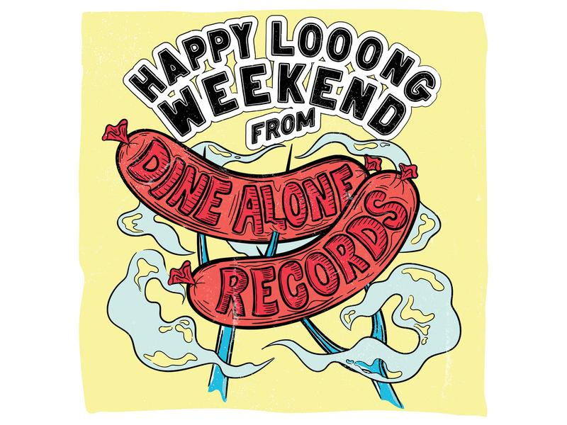 Dine Alone Long Weekend Post design illustration branding long weekend smoke hotdogs summer custom type typography social media pack