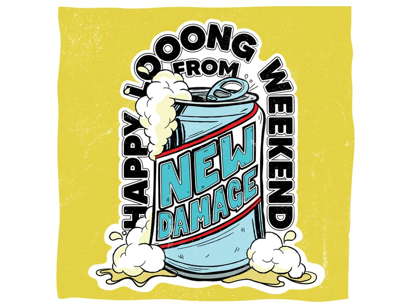 New Damage Records Long Weekend Post branding design customtype typography foam texture summer holiday beer illustration social media long weekend new damage records