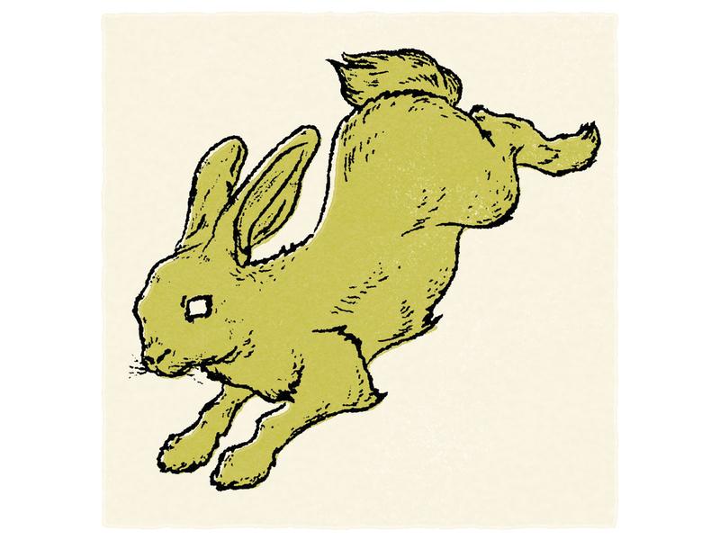 Rabbit Illustration rabbit logo bunny green storybook rabbit vector vintage texture illustration