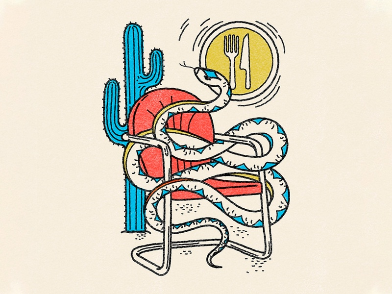 Desert Snake Design illustration distressedunrest merch vintage vector texture branding sun snake logo shirt design desert cactus lawn chair snake
