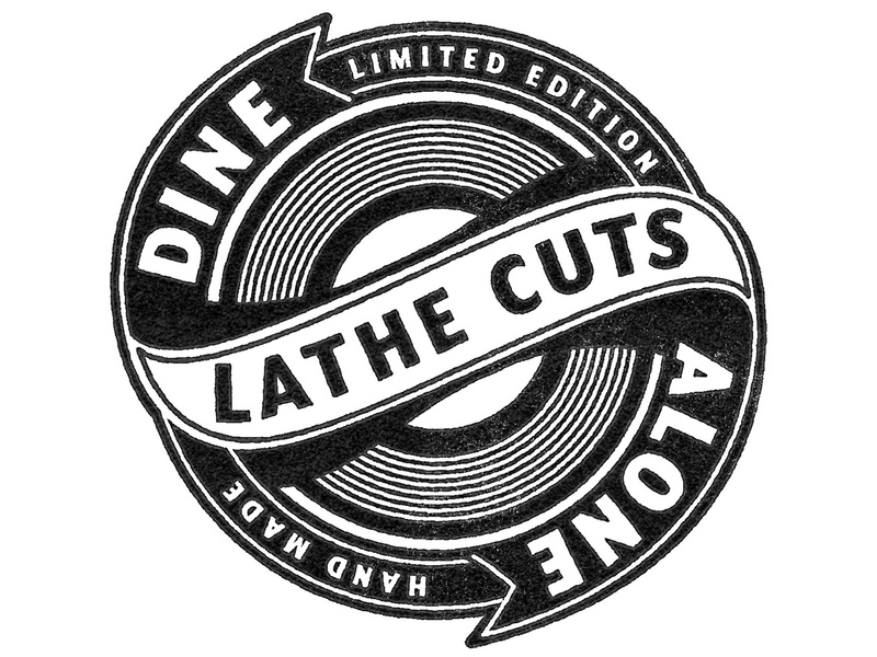 Dine Alone Lathe Cut Mark icon antiques design vector texture branding music handmade limited record typography logodesign mark lathe cut logo