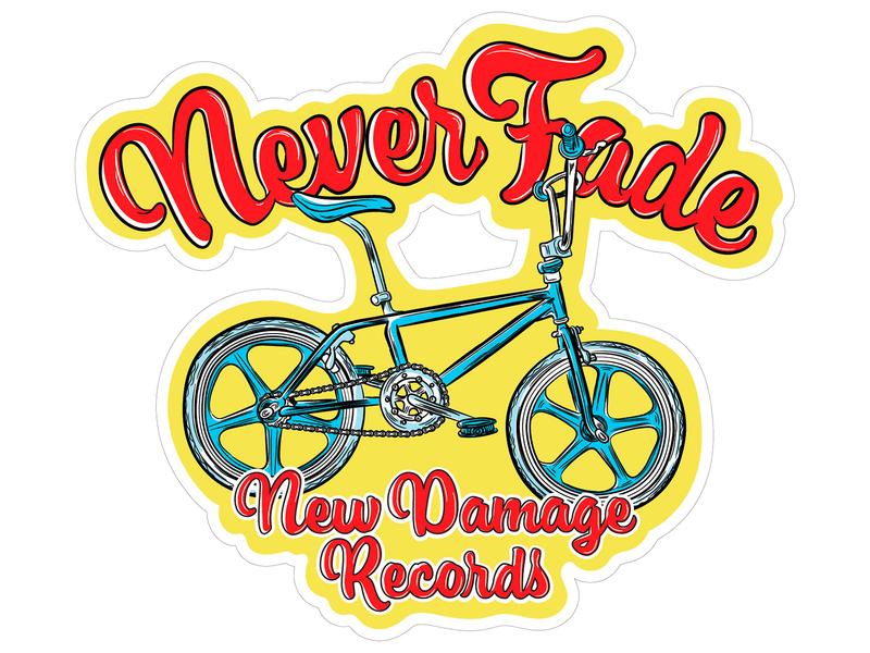 Never Fade BMX Sticker customtype logo vintage merch branding typogaphy illustration design bike never fade sticker