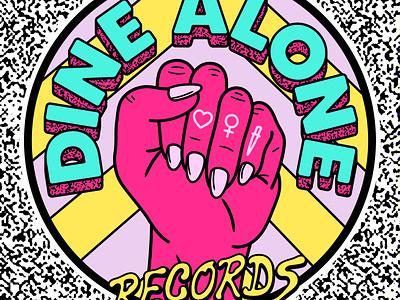 Dine Alone Women's History Month Design logo merch fist vector branding typography illustration illust women history