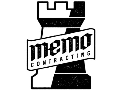 Memo Contracting Logo Design memo contracting texture stamp typography castle rook blackletter logo