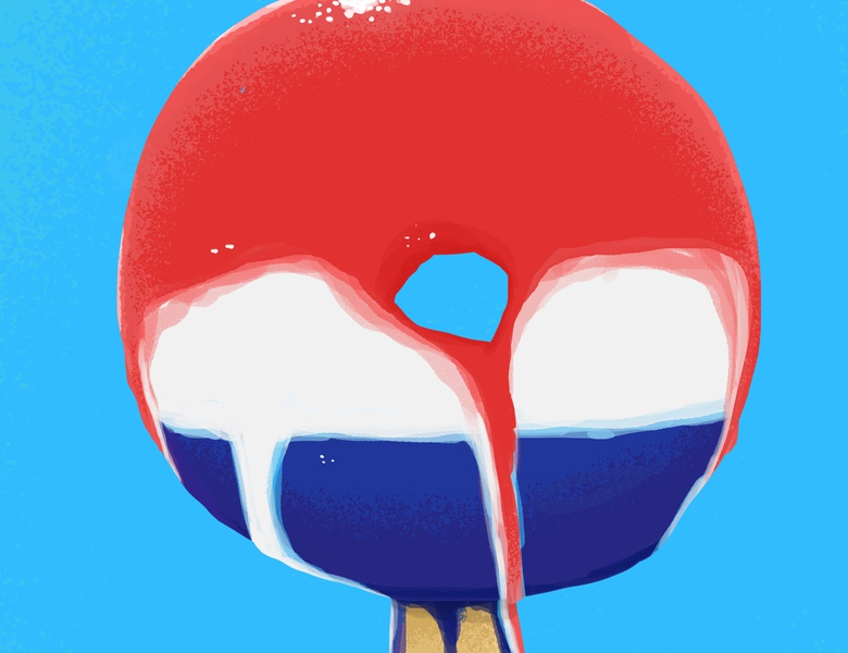 Astropop Donut illustrations digital painting illustration digital illustration melting dessert food foodart nostalgia summer july4th fourthofjuly 4thofjuly popsicle astropop donut