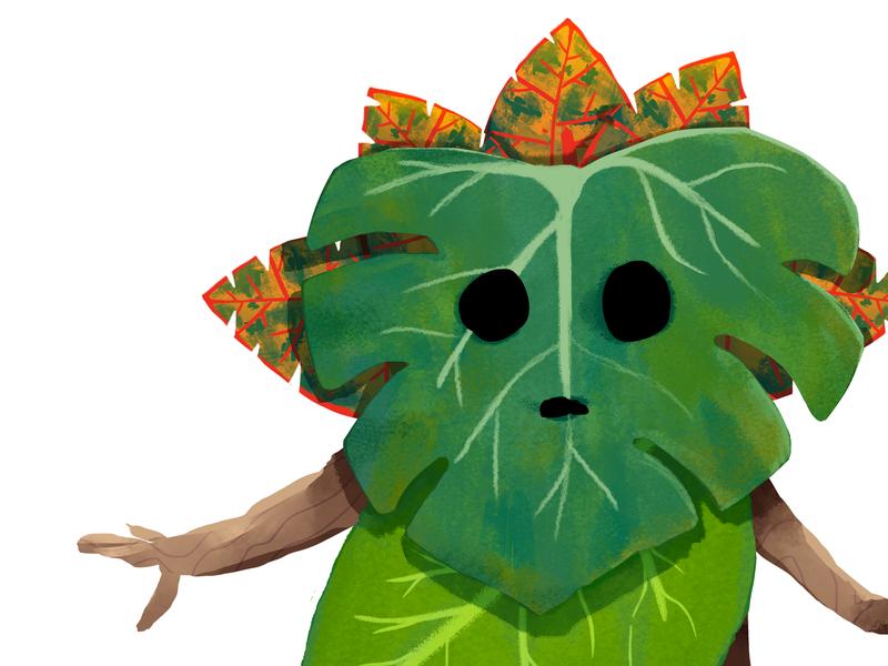 Japan kodama tropical crop digital painting digital illustration illustrations concept art yokai spirits creatures tree spirit creature whimsical tropical wood leaves japan kodama spirit forest spirit woodland