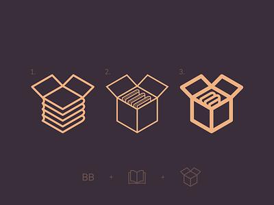 """BookzBox"" App Logo - Book + Box symbol icon app logo trading trade app logo box books book"