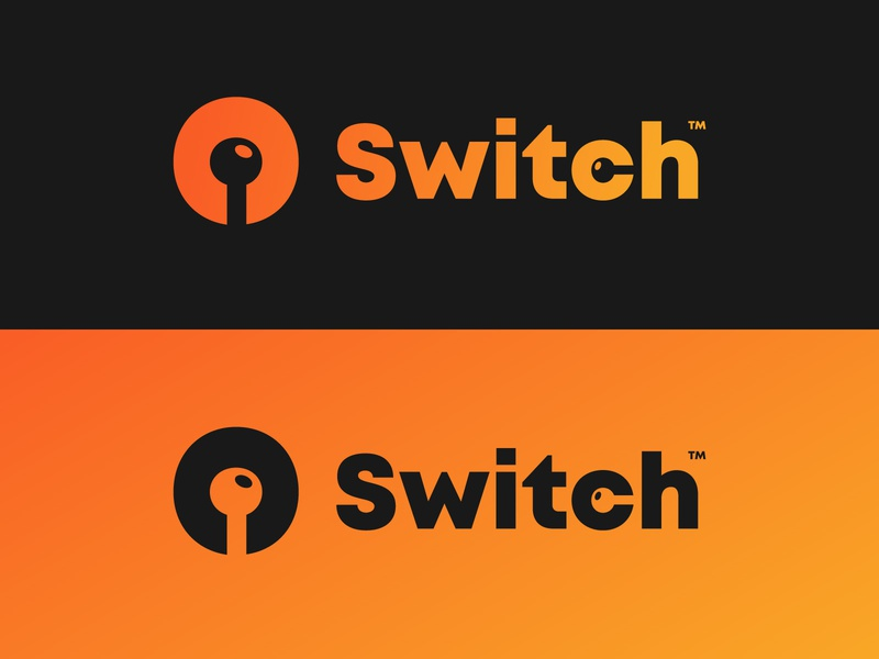 """Switch"" logo idea rounded font icon pin controller switch orange illustration mont font typography creative simple logo gradient 2018 modern graphic design flat design"