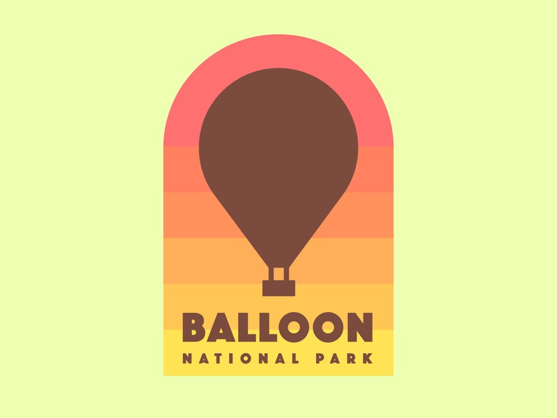Hot Air Balloon badge logo - The Daily Logo Challenge 02 logo national park badge balloon flat  design dailylogochallenge