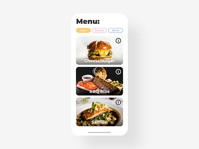 Food Menu - DailyUI - 043 food food menu menu mobile ixd interaction experience interface user ux ui dailydesignchallenge dailydesign challenge dailychallenge dailyuichallenge dailyuidesign dailyui 043 dailyui daily