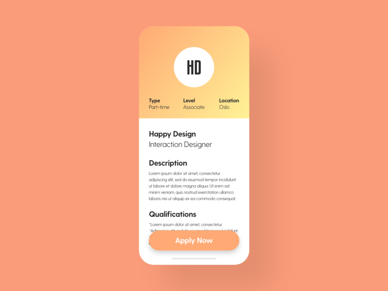Job Listing - DailyUI - 050 jobs apply job listing job dailydesignchallenge dailyuichallenge dailychallenge dailydesign mobile user experience interface interaction ixd uiux ux ui dailyui 050 dailyui daily