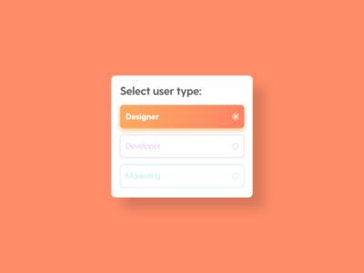 Select User Type - DailyUI - 064