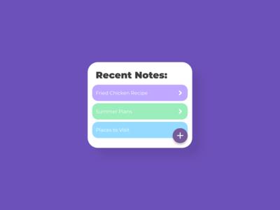 Notes Widget - DailyUI - 065