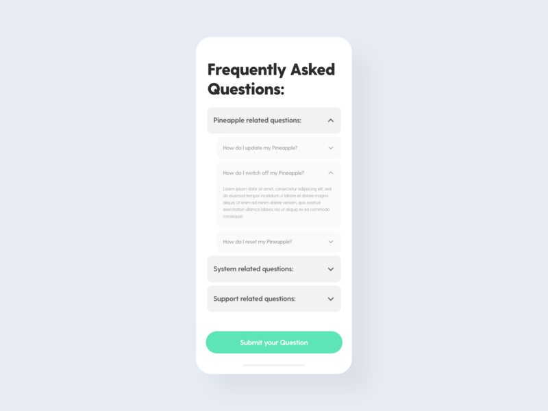 FAQ - DailyUI - 092 challenge dailyuichallenge dailyuidesign frequently asked questions faq interaction experience interface ixd ux ui user dailyui 092 dailyui daily