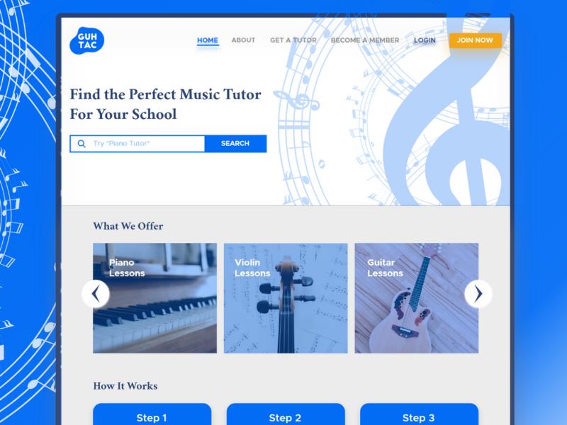 Guhtac HomePage uxui design uiux design ux design ui design music blue website design ux uxui uiux ui web design website