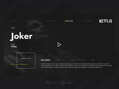 Netflix | Redesign joker concept web website webdesign ux ui film holywood cinema netflix