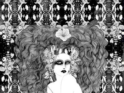 Private view beauty home decor art print poster print freelance illustrator illustration black and white fashion illustration feminine