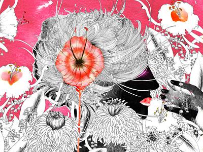 The pink Garden noumeda carbone interior decor style art for sale artwork watercolor figurative freelance iluustrator illustration art freelance artist visual artist floral art feminine