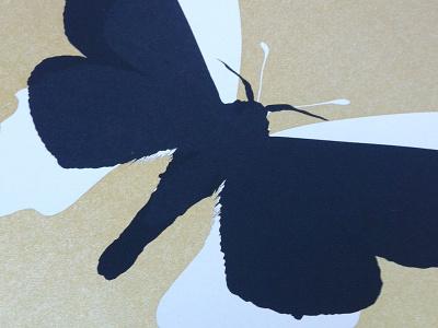 Butterfly silkscreen print butterfly gold