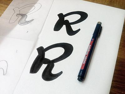 R Legs typeface font script caballero sketch lettering edding