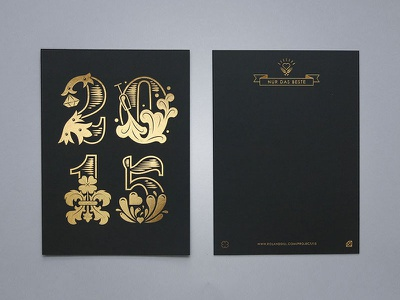 Happy 2015 new year card gold black print lettering hot foil stamp