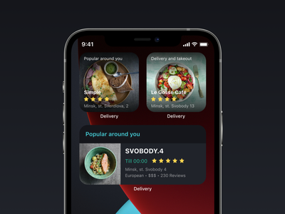 Widgets with food for your iPhone delivery food dark mode apple iphone12 ios14 ios widget ui ux