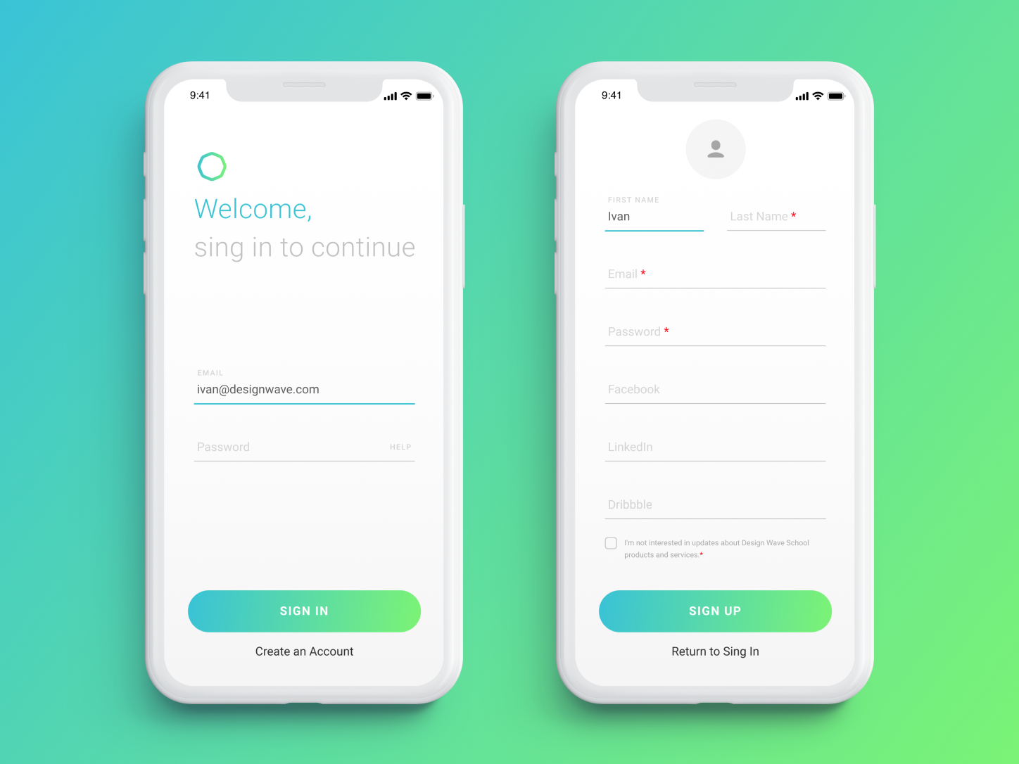 Hello 👋 password email form registration sing up sing in concept app ux ui